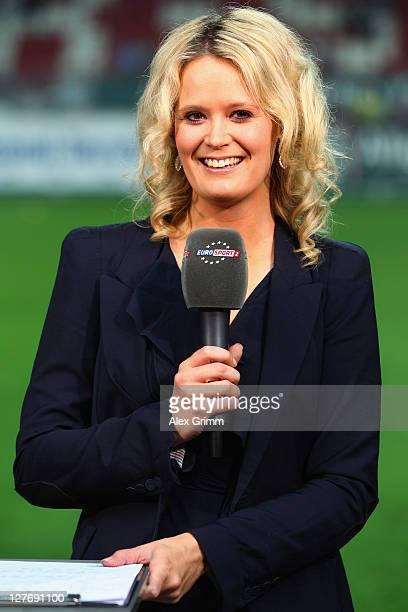 TV presenter AnnaSara Lange of Eurosport 2 poses prior to the Bundesliga match between between 1 FC Kaiserslautern and VfB Stuttgart at FritzWalter...