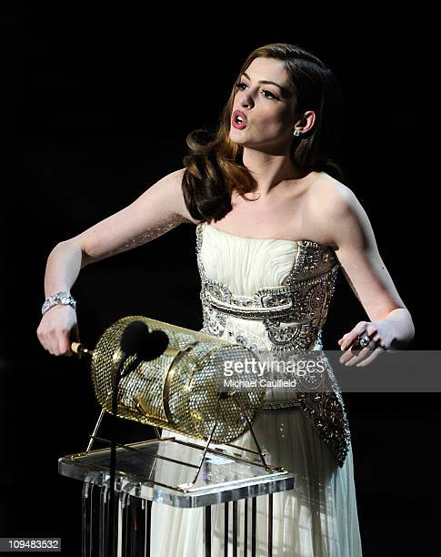 Presenter Anne Hathaway speaks onstage during the 83rd Annual Academy Awards held at the Kodak Theatre on February 27 2011 in Hollywood California