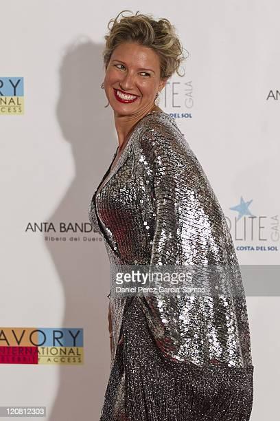 TV presenter Anne Igartiburu arrives for the Starlite Charity Gala at the Villa Padierna hotel on August 6 2011 in Marbella Spain