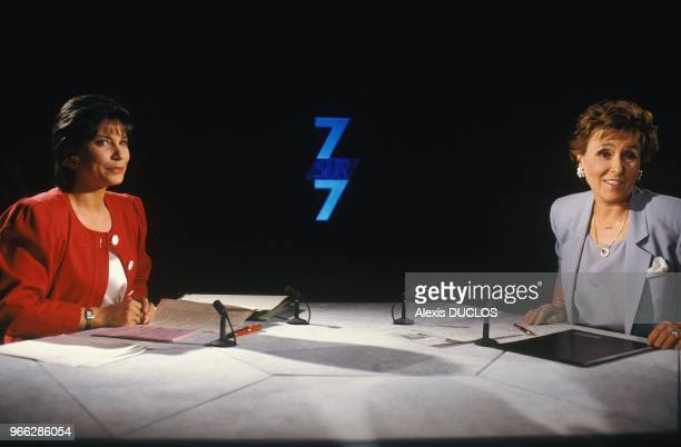 Presenter Anne Sinclair And New French Prime Minister Edith Cresson On Set Of TV Show 7 Sur 7 Paris May 19 1991