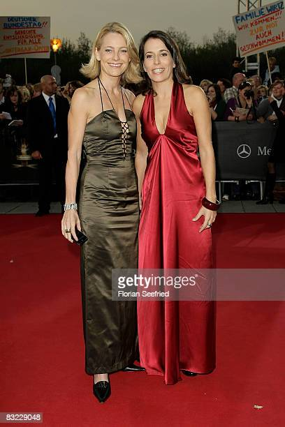 Presenter Anne Will and Dr Miriam Meckel arrives for the German TV Award 2008 at the Coloneum on October 11 2008 in Cologne Germany