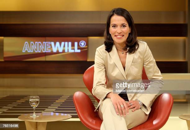 TV presenter Anne Will poses during the photo call for the new political talkshow Anne Will in her new TV studio on June 07 2007 in Berlin Germany...