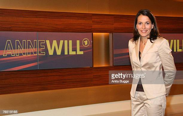 TV presenter Anne Will poses during the photo call for the new political talkshow 'Anne Will' in her new TV studio on June 07 2007 in Berlin Germany...