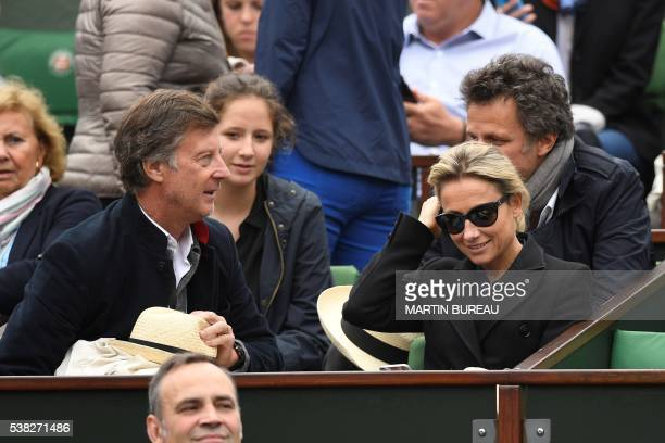 TV presenter AnneSophie Lapix attends the men's final match between Serbia's Novak Djokovic and Britain's Andy Murray at the Roland Garros 2016...