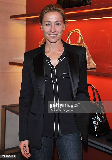 TV presenter AnneSophie Lapix attends the opening of a new YSL store on February 25 2008 in Paris France