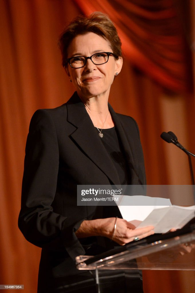Presenter Annette Bening speaks onstage during the 2012 Courage in Journalism Awards hosted by the International Women's Media Foundation held at the Beverly Hills Hotel on October 29, 2012 in Beverly Hills, California.