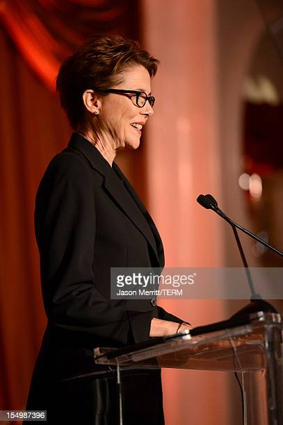 Presenter Annette Bening speaks onstage during the 2012 Courage in Journalism Awards hosted by the International Women's Media Foundation held at the...
