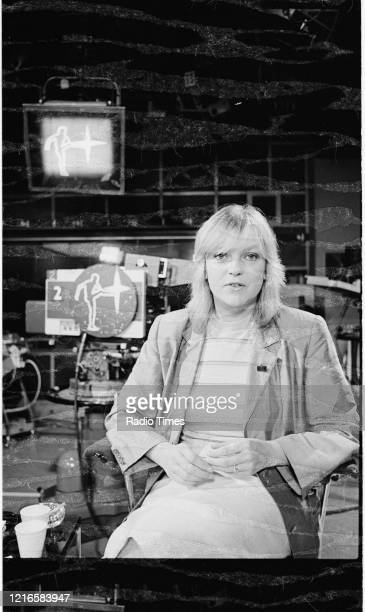 Presenter Annie Nightingale on the set of the BBC television series 'The Old Grey Whistle Test', 1978.