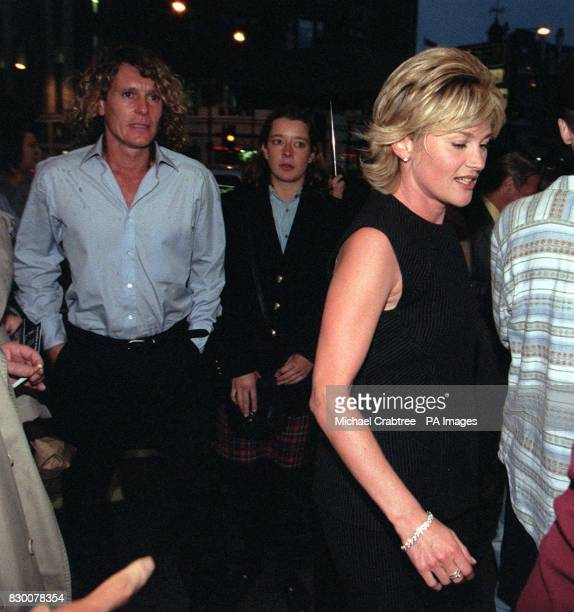 TV presenter Anthea Turner arrives at with her actor friend Jonathan Morris for the musical ANNIE at the Victoria Palace Theatre tonight Photo by...