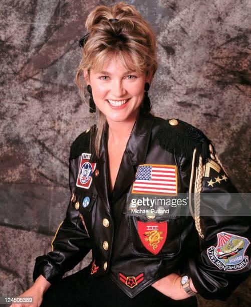 TV presenter Anthea Turner studio portrait London 1988
