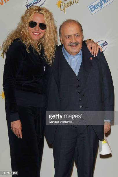 TV presenter Antonella Clerici and Maurizio Costanzo attend the 60th Sanremo Music Festival day 1 Photocall on February 16 2010 in San Remo Italy