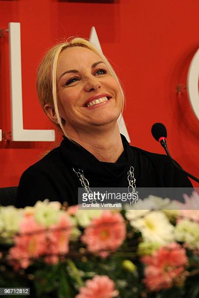 TV presenter Antonella Clerici attends the 60th San Remo Song Festival 2010 press conference on February 15 2010 in San Remo Italy