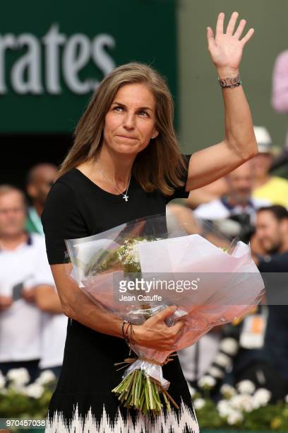 Presenter Arantxa Sanchez during the trophy ceremony on Day 14 of the 2018 French Open at Roland Garros stadium on June 9 2018 in Paris France
