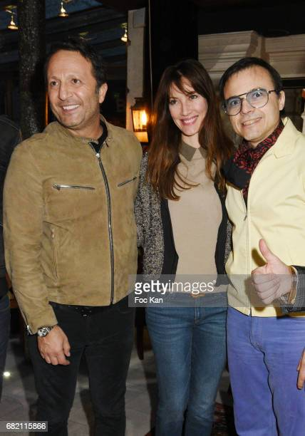 TV presenter Arthur aka Jacques Essebag Mareva Galanter and producer/composer/singer Bertrand Burgalat attend Technikart Magazine Cocktail for...