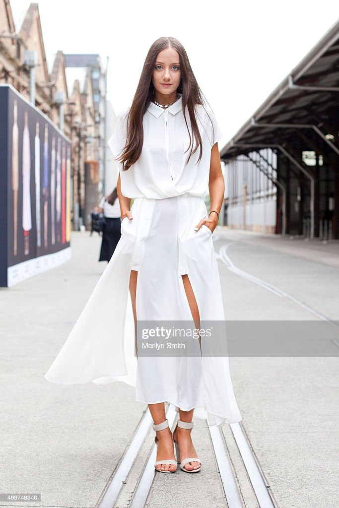 Presenter at The Fashion Spot Emma Gore wears a Blessed are the Meek dress at Mercedes-Benz Fashion Week Australia 2015 at Carriageworks on April 14, 2015 in Sydney, Australia.