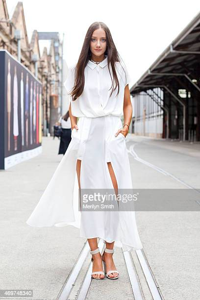 Presenter at The Fashion Spot Emma Gore wears a Blessed are the Meek dress at MercedesBenz Fashion Week Australia 2015 at Carriageworks on April 14...