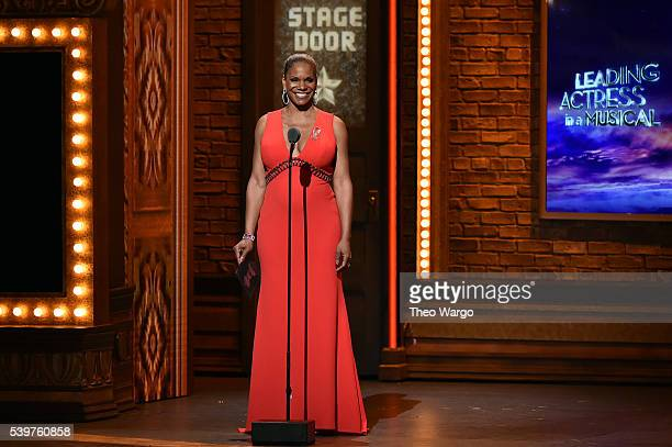 Presenter Audra McDonald speaks onstage during the 70th Annual Tony Awards at The Beacon Theatre on June 12 2016 in New York City