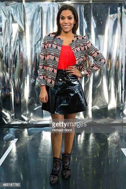 TV presenter Audrey Chauveau poses prior the Christine Phung show as part of the Paris Fashion Week Womenswear Fall/Winter 2015/2016 at Institut du...