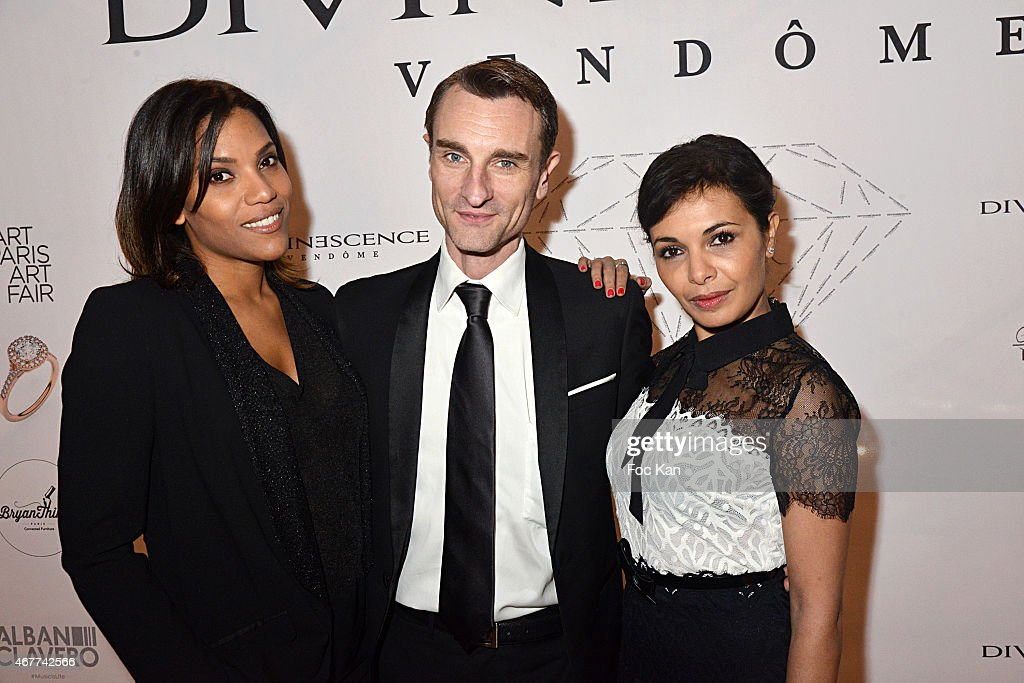 TV presenter Audrey Chauveau, Renaud Duval and Saida Jawala attend the 'Diamond Night by Divinescence Vendome' - Harumi Klossowska Jewellery Exhibition Preview As Part Of Art Paris Art Fair at the Grand Palais on March 26, 2015 in Paris, France.