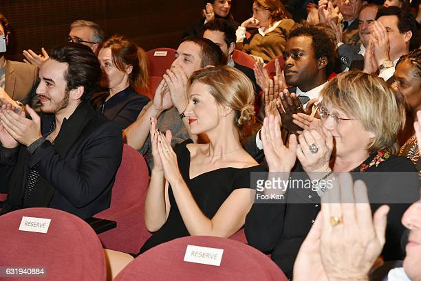 TV presenter Audrey CrespoMara applauses the speech of her husband during the Philippe Caloni 2016 Award Ceremony for the Best Interviewer Hosted by...