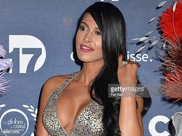 TV presenter Ayem Nour attends the 'Globes De Cristal' 2015 Award Ceremony At The Lido on April 13 2015 in Paris France