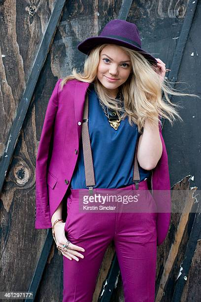 MTV presenter Becca Dudley wears a Top Man suit shirt and braces and a Vintage Hat day 1 of London Mens Fashion Week Autumn/Winter 2014 on January 06...