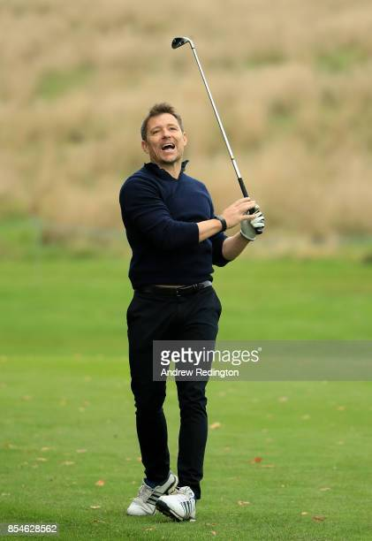 Presenter Ben Shephard in action during the pro am ahead of the British Masters at Close House Golf Club on September 27 2017 in Newcastle upon Tyne...