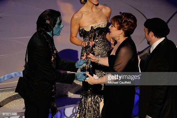 Presenter Ben Stiller and makeup artists Mindy Hall and Barney Burman onstage during the 82nd Annual Academy Awards held at Kodak Theatre on March 7...