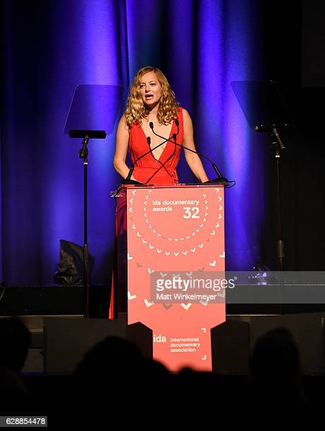 Presenter Bijou Phillips speaks onstage at the 32nd Annual IDA Documentary Awards at Paramount Studios on December 9 2016 in Hollywood California