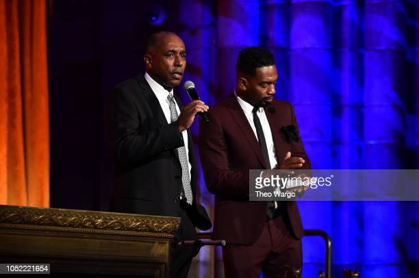 Presenter Bill Bellamy and Honoree Jeffrey Harleston appear on stage during The TJ Martell Foundation 43rd New York Honors Gala at Cipriani 42nd...