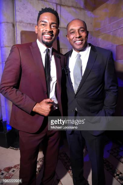 Presenter Bill Bellamy and Honoree Jeffrey Harleston pose for a photo backstage during The TJ Martell Foundation 43rd New York Honors Gala at...