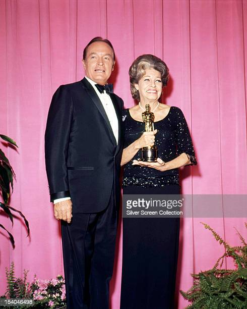 Presenter Bob Hope and American actress and singer Martha Raye with her Jean Hersholt Humanitarian Award at the 41st Academy Awards at the Dorothy...