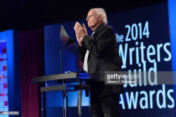 Presenter Bruce Dern speaks onstage during the 2014 Writers Guild Awards LA Ceremony at JW Marriott at LA Live on February 1 2014 in Los Angeles...