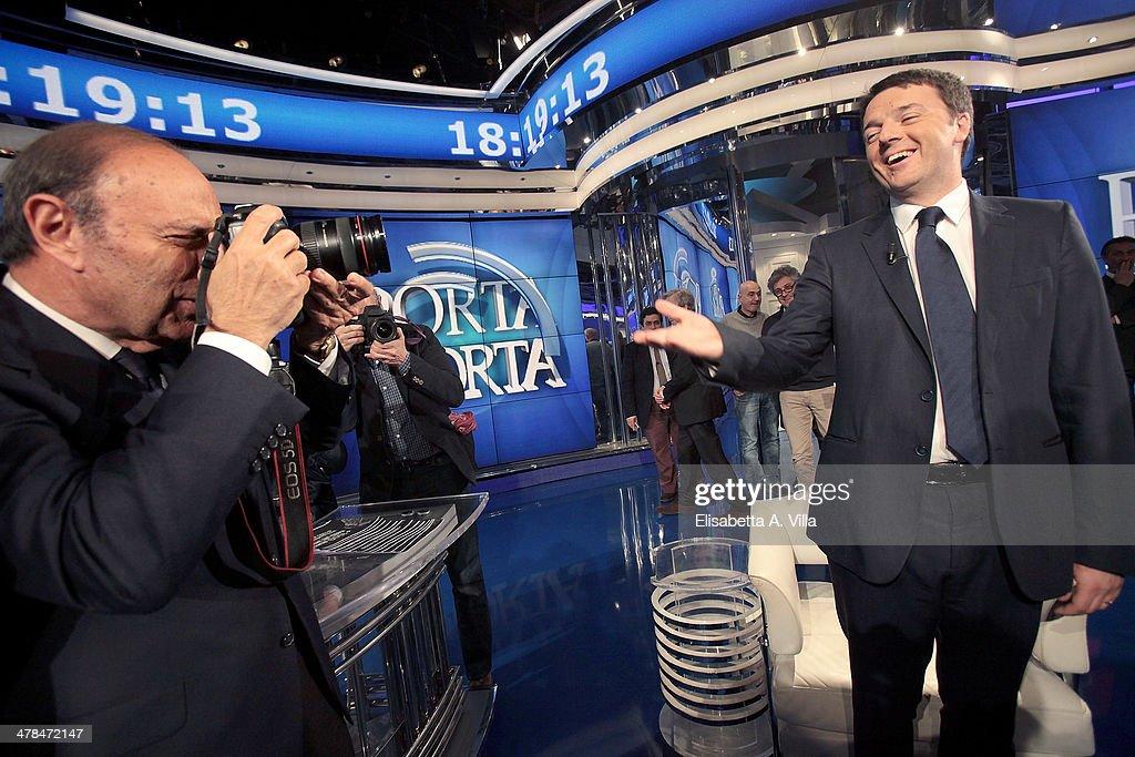 Italian Prime Minister Matteo Renzi Attends 'Porta A Porta' TV Show : News Photo