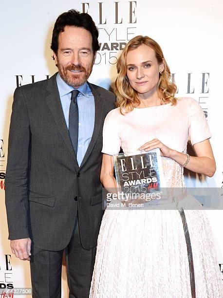 Presenter Bryan Cranston and Diane Kruger, winner of the Film Actress of the Year award, pose in the Winners Room at the Elle Style Awards 2015 at...