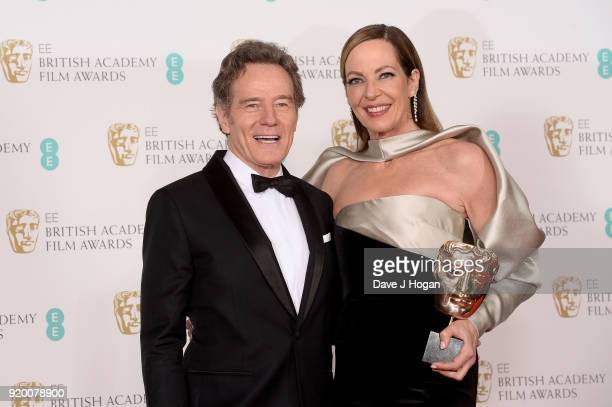 Presenter Bryan Cranston and winner of Best Supporting Actress for 'I Tonya' Allison Janney pose in the press room during the EE British Academy Film...