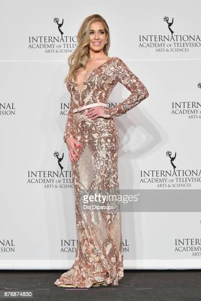 Presenter Carmen Aub poses in the press room at the 45th International Emmy Awards at New York Hilton on November 20 2017 in New York City