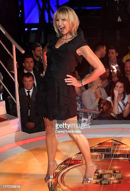 Presenter Carol McGiffin is interviewed by Emma Willis as she enters the Celebrity Big Brother House at Elstree Studios on August 22 2013 in...