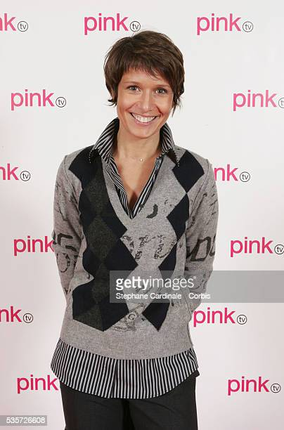 Presenter Carole Rousseau in the studio during the launch of France's first gay television channel Pink TV