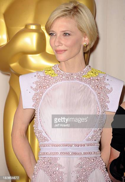 Presenter Cate Blanchett poses in the press room during the 83rd Annual Academy Awards held at the Kodak Theatre on February 27 2011 in Los Angeles...