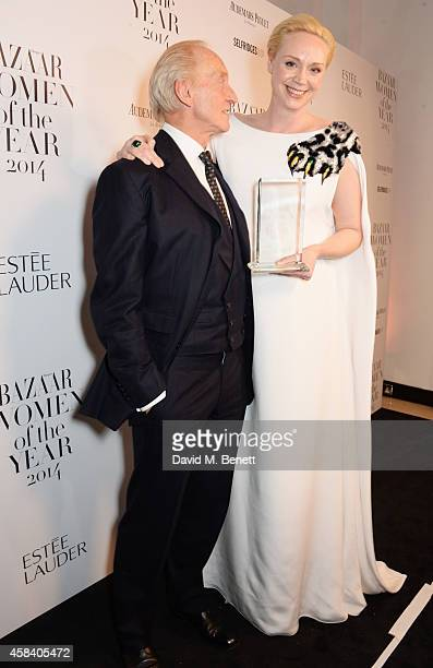 Presenter Charles Dance and Gwendoline Christie winner of the British Actress of the Year award pose at the Harper's Bazaar Women Of The Year awards...