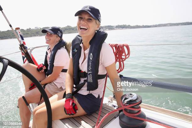 Presenter Charlotte Hawkins takes part in racing on Ladies Day at Lendy Cowes Week on August 7, 2018 in Cowes, England