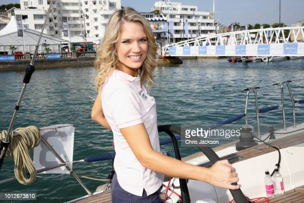 Presenter Charlotte Hawkins takes part in racing on Ladies Day at Lendy Cowes Week on August 7 2018 in Cowes England
