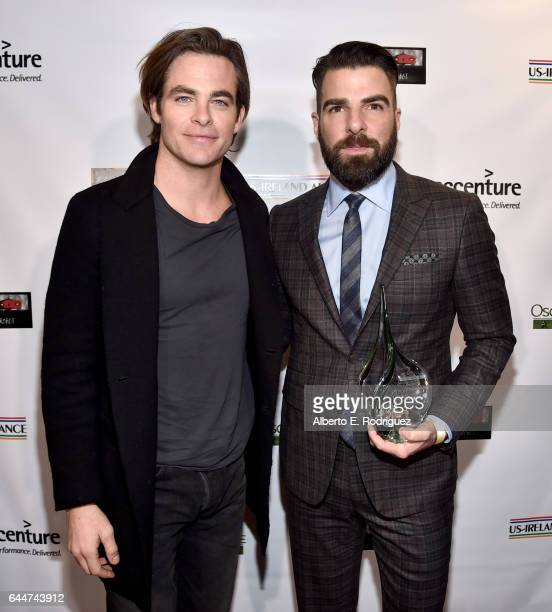 Presenter Chis Pine and honoree Zachary Quinto attend the 12th Annual USIreland Aliiance's Oscar Wilde Awards event at Bad Robot on February 23 2017...