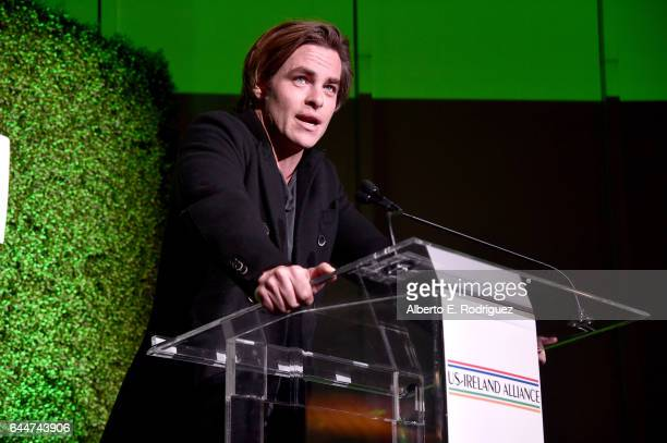 Presenter Chis Pine speaks onstage during the 12th Annual USIreland Aliiance's Oscar Wilde Awards event at Bad Robot on February 23 2017 in Santa...