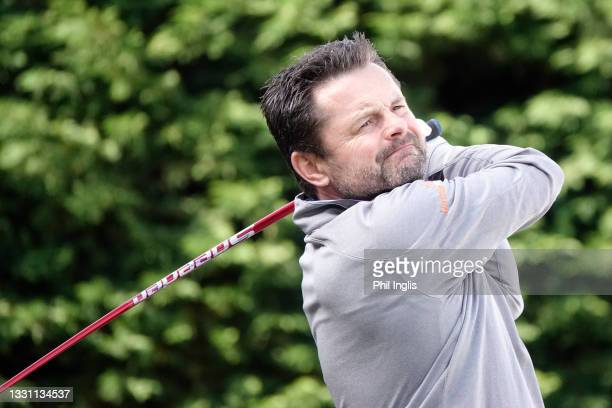 Presenter Chris Hollins in action during the ProAm ahead of the Staysure PGA Seniors Championship at Formby Golf Club on July 28, 2021 in Formby,...