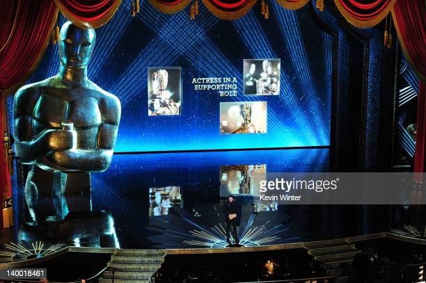 Presenter Christian Bale speaks onstage during the 84th Annual Academy Awards held at the Hollywood Highland Center on February 26 2012 in Hollywood...