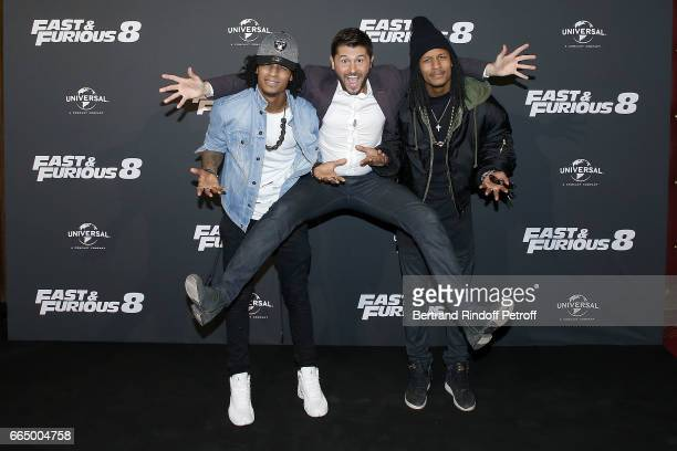 Presenter Christophe Beaugrand and 'Les Twins' attend 'Fast Fourious 8' Paris Premiere at Le Grand Rex on April 5 2017 in Paris France