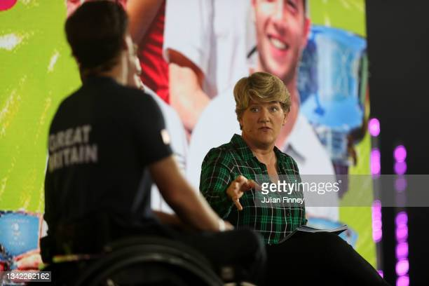 Presenter Clare Balding is seen on stage as British US Open champions Emma Raducanu, Joe Salisbury, Gordon Reid and Alfie Hewett return to the LTA's...