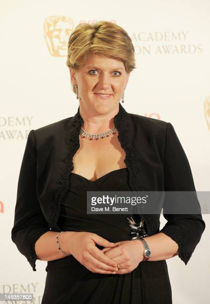 Presenter Clare Balding poses in front of the winners boards at the Arqiva British Academy Television Awards 2012 held at Royal Festival Hall on May...